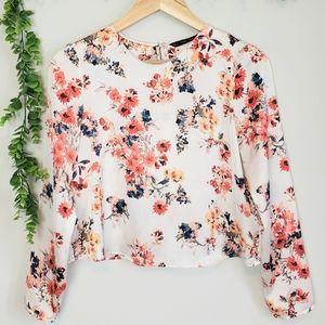 Zara Satin Floral Cropped Blouse